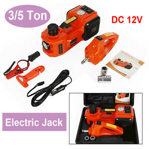 12v Dc 3t 5t Electric Hydraulic Floor Jack Lift Lifting Set W Impact Wrench New
