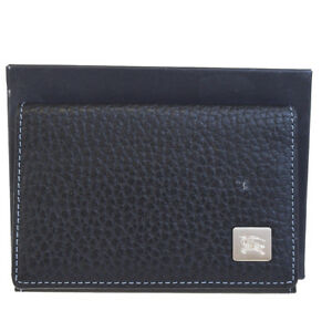 Authentic Burberry Logos Card Case Nova Check Leather Black Accessory 08be371