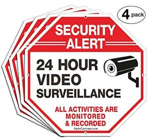 Security Signs faittoo 4 Pack 24 Hour Video Surveillance Sign octagon 12 x12 Uv