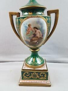 Antique Austrian Imperial Covered Vase Urn Beehive Mark Nude Woman And Cherub