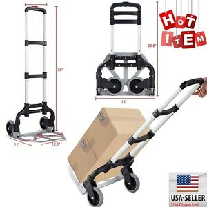 Platform Cart Dolly Folding Hand Truck Aluminium Push Luggage Moving Collapsible