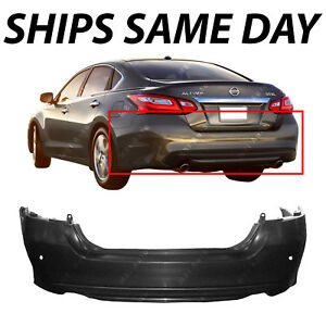 New Primered Rear Bumper Cover Replacement For 2016 2018 Nissan Altima W Park