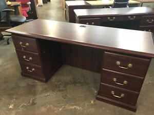 66 w X 24 d Traditional Style Desk credenza In Mahogany Finish Laminate