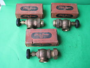 3 Nos Vintage Ohio Brass No 3000 1 1 4 Radiator Valve Angle Type W Union W Box