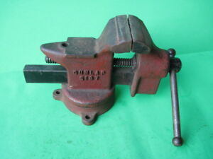 Vintage Dunlap No 5197 3 1 2 Jaw Cast Iron Bench Vise Swivel Base Made In Usa