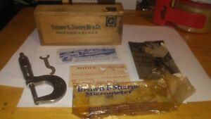 Vintage Brown Sharpe Micrometer Caliper No 12 With Box Wrench Instructions