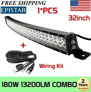 240w 42 Inch Curved Led Light Bar Combo Offroad Truck Boat Suv 4wd Wiring Kit40