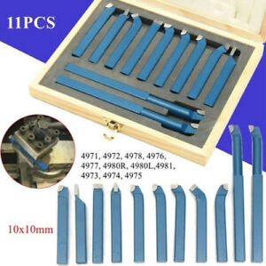 11pcs 8 10 12mm Metal Lathe Tools knife Set Bits For Lathe Cutting Tools Kit Us