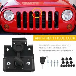 Security Hood Lock Set Kit Engine Anti theft Assembly Fit Jeep Wrangler Jk 07 18