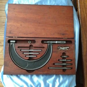 Vintage Brown Sharpe Micrometer Model 55 Set With Wood Box Wrenches Parts