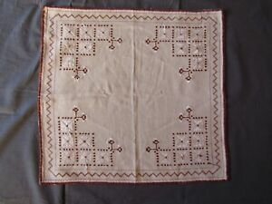 Beautiful Vintage Hand Embroidered Tablecloth Silk Threads 1966 Squared