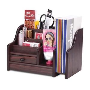 Azdent Office Supplies Wood Desk Organizer With Drawer Expandable Mail Sorter
