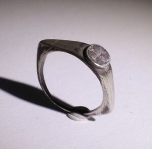 Lovely Ancient Roman Silver Ring With Cross Circa 2nd Century Ad