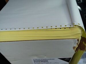 Case 9 5 X 11 2 Part Carbonless Continuous Form Paper 1650 Sheets White Canary