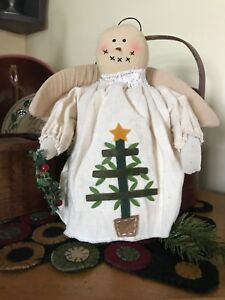 Prim Angel Snow Girl Muslin Doll Feather Tree Wreath 10 H