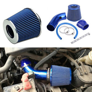 3in Universal Car Cold Air Intake Filter Induction Pipe Kit Hose System Blue Set