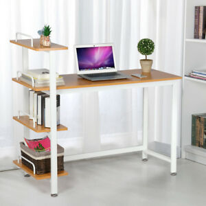 Computer Desk Pc Laptop Cart Study Workstation Table Writing Desk 4 Bookshelf