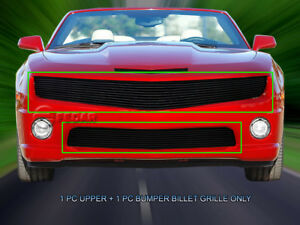 Black Billet Grille Phantom Style Combo For Chevy Camaro Ss V8 2010 2013