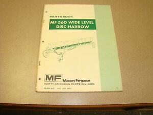 Original Massey Ferguson Mf 360 Wide Level Disc Harrow Parts Book