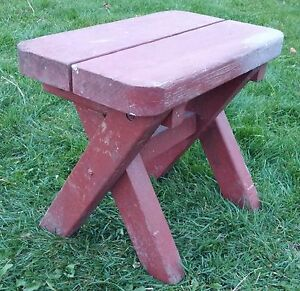 Vintage Primitive Barn Red Bench Milking Stool Farm Bench