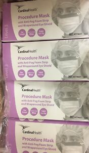 100 Cardinal Surgical Procedure Mask Anti fog W Eye Shield Ear Loops At74631
