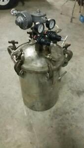 Devilbiss 10 Gallon Stainless Pressure Feed Tank Air Driven Agitator Double Re