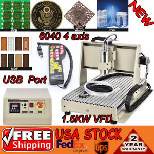 6040 1 5kw 4 Axis Cnc Router Usb Engraver Machine Milling Drill Controller Rc