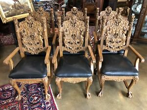 Set Of 6 Solid Oak Heavily Carved Maiden Arm Chairs