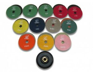 Wet Granite Polishing Set 12 Discs 1 Pad