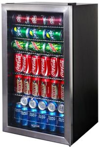 19 In Stainless Steel Freestanding Wine Beverage Cooler W Led Light And Racks