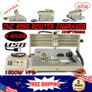 Usb Port 4 Axis 1500w Vfd 6090 Cnc Router Engraver Dril Mill Machine Artwork Cut