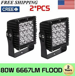 2x 5inch 80w Cree Led Work Light Square Flood Fog Drl Suv Truck Offroad Ute 48w