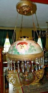 Antique Eagle Oil Kerosene Country Chandelier W Hand Painted Globe And Crystals