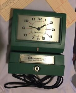 Vintage Acroprint Time Recorder Manual Punch Clk Industrial Office 125nr4 Works