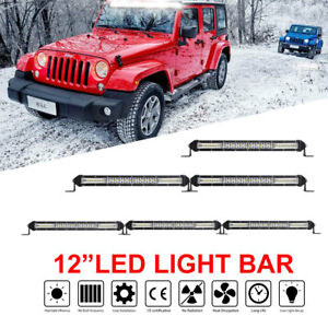 Slim 12inch 208w 1 row Led Light Bar Combo Beam 8d Driving Off road Utv 14 15