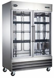 Saba S 47rg Commercial Refrigerator Beverage Cooler Display Case 2 Glass Door