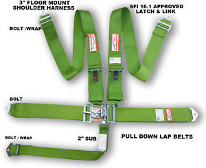 Lime Green Safety Harness 5 Point Sfi 16 1 Racing Latch Link 3 Floor Mount