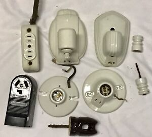 Antique Porcelain Light Fixtures Wall Scones Light Switch Plug 3 Way Outlet