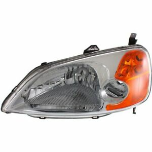 Headlight For 2001 2003 Honda Civic Left Clear Lens Dot Sae Compliant Sedan Capa