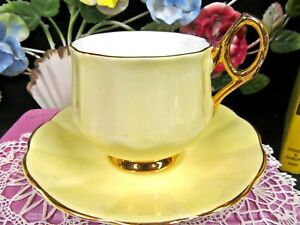 Rosina Tea Cup And Saucer Yellow Beauty Teacup Gold Handle And Base