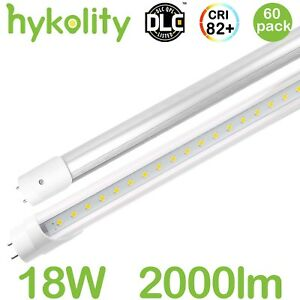 60 Pack T8 T10 T12 Led Tube Light 4 Ft 18w 2000lm Dual end Clear Lens 5000k Dlc