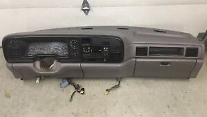 1994 1997 Dodge Ram Truck Complete Dash Assembly Gray Core Bezel Cup Hold 94 97