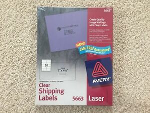 Avery 5663 Clear Easy Peel Shipping Labels Laser 2 X 4 500 In Box