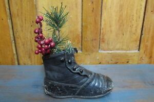 Antique Child S Shoe With Christmas Greenery Country Farm House Primitive