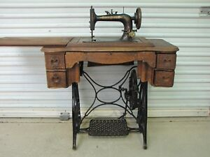 Antique Vintage New Home Treadle Sewing Machine Table Oak Wood Cabinet 1920 S