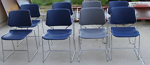 8 Matrix Stack Chair 6 Blue 2 Gray Chairs