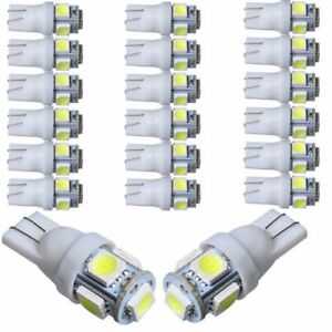 20pc Super White Car Led Light Bulbs T10 Rv Camper 5 Smd 5050 12v 194 921 906