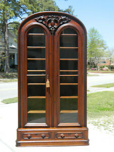 Unusual Walnut Victioran Bookcase Display Cabinet Circa 1860