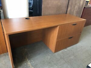 Credenza W Built in 2 Drawer File In Cherry Color Laminate