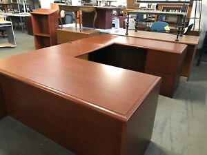 Executive U shape Desk By Kimball Office Furniture In Cherry Color Laminate